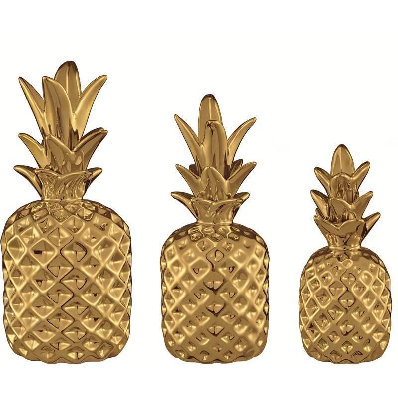 Jogo 3 Abacaxis em Cerâmica Caribbean 6279 Dourada Mart