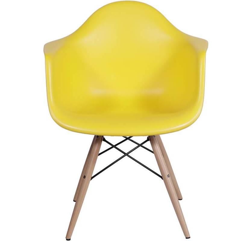 Cadeira Eames Wood Amarela com Braços OR Design 1120