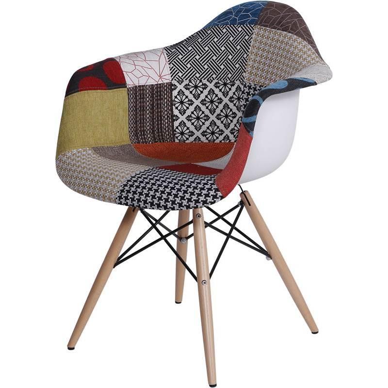 Cadeira Eames Wood Patch Work Estampada OR Design 1120