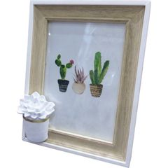 Porta-Retrato-Branco-e-Bege-para-1-Foto-Cactus-Flower-Urban
