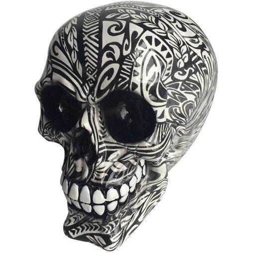 Caveira-Decorativa-Branca-e-Preta-em-Resina-Tatoo-Tribal-Urban