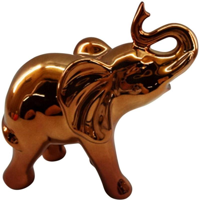 Elefante Decorativo em Cerâmica Cobre Curved Snout Urban