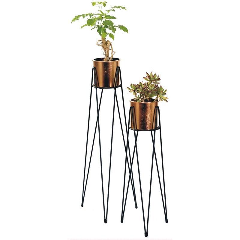 Conjunto 2 Vasos de Metal e Plástico Cobre Geo Forms Urban