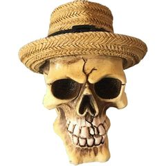 Caveira-Decorativa-em-Resina-Panama-Hat-Pequena-Urban