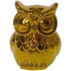 Coruja-Decorativa-em-Ceramica-Dourada-Staring-Urban