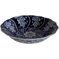 Prato-Decorativo-Azul-e-Branco-em-Porcelana-Leaves-Urban