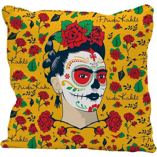 Capa-de-Almofada-Amarela-45x45cm-Face-Frida-Kahlo-Urban