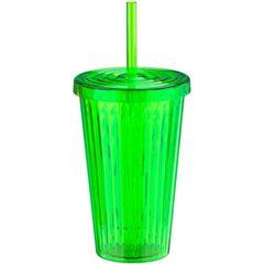 Copo-de-Plastico-com-Canudo-Verde-Vivid-Colors-Urban