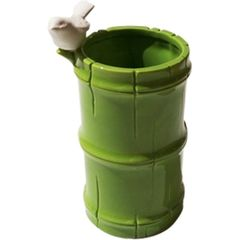Vaso-de-Ceramica-Verde-Bamboo-and-Bird-Urban