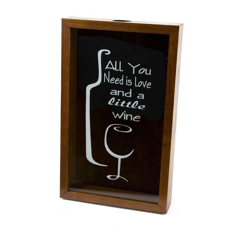 Quadro Porta Rolhas de Vinho em Madeira 46,5cm Love Woodart