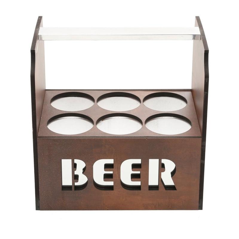 Porta Cerveja Térmico em Madeira para 6 Latas Woodart