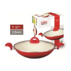 Panela-Wok-em-Ceramica-com-Alca-32cm-Vermelha-714-Class