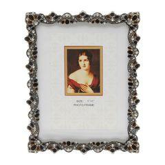 Porta-Retrato-Prata-com-Strass-para-1-Foto-10x15cm-Aline-Prestige