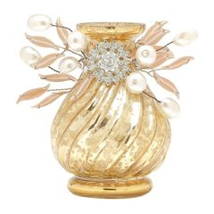 Vaso-Dourado-9cm-Beaded-Flower-Prestige