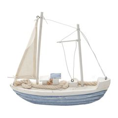 Barco-Veleiro-de-Madeira-Decorativo-Azul-e-Branco-18cm-Prestige