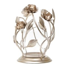 Porta-Velas-23cm-Flowers-Dourado-Prestige