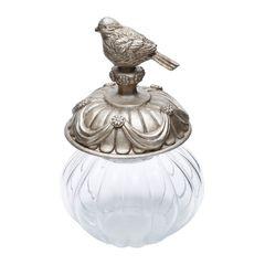 Potiche-de-Vidro-22cm-com-Tampa-Bird-Pequeno-Prestige