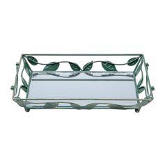 Bandeja-Retangular-de-Ferro-com-Espelho-32cm-Folhas-Prestige