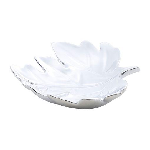 Centro-de-Mesa-em-Ceramica-Prata-14cm-Folha-Prestige