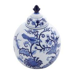Potiche-de-Porcelana-22cm-com-Tampa-King-Bird-Azul-Prestige