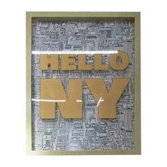 Quadro-com-Moldura-Hello-NY-Laranja-Urban