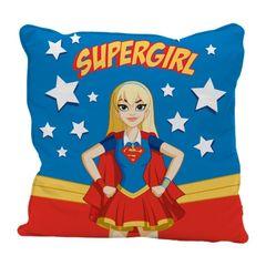 Capa-de-Almofada-Azul-45x45cm-Super-Girl-Urban