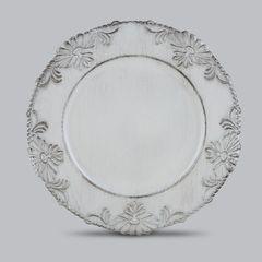 Conjunto-com-6-Sousplats-de-Plastico-Branco-Flowers-Bon-Gourmet