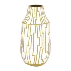 Vaso-de-Ceramica-Branco-e-Dourado-29cm-Congo-7935-Mart