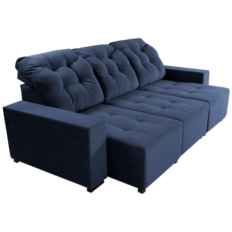 Sofa Retratil E Reclinavel 3 Lugares Azul Em Veludo Piaz Plus