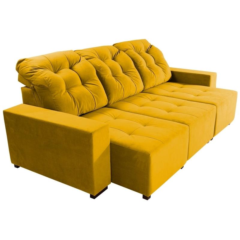 Sofa Retratil E Reclinavel 3 Lugares Amarelo Em Veludo Piaz Plus