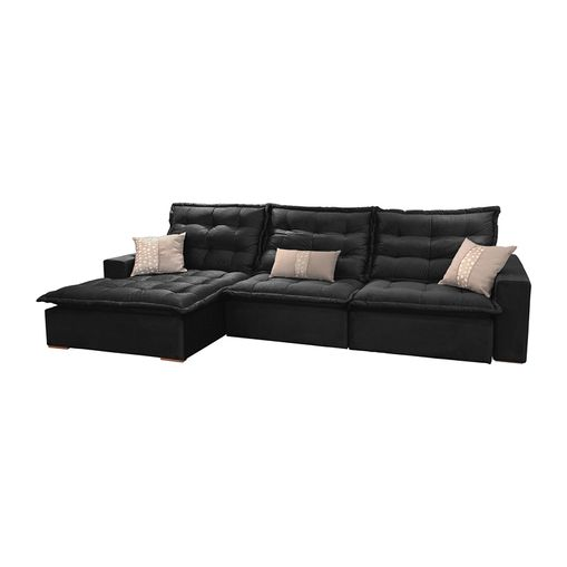 Wondrous Sofa Retratil E Reclinavel 5 Lugares Preto Com Chaise 3 20M Lyra Machost Co Dining Chair Design Ideas Machostcouk