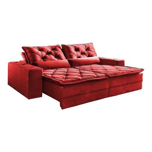 Sofa-Retratil-e-Reclinavel-3-Lugares-Vermelho-em-Veludo-210m-Lancelot