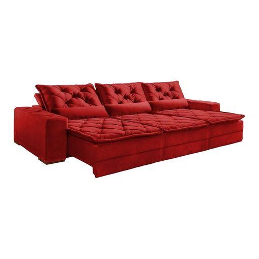Sofa-Retratil-e-Reclinavel-5-Lugares-Vermelho-em-Veludo-320m-Lancelot