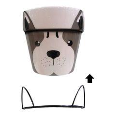 Vaso-Decorativo-12cm-Marrom-com-Suporte-de-Metal-Dog
