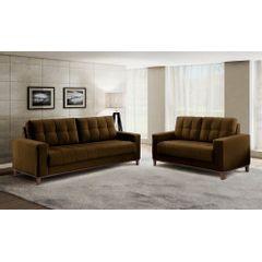Sofa-2-Lugares-Marrom-em-Veludo-157m-Lerner---Ambiente