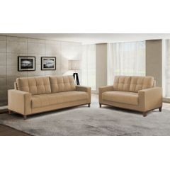 Sofa-2-Lugares-Bege-em-Veludo-157m-Lerner---Ambiente
