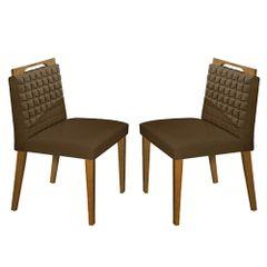 Kit-2-Cadeiras-de-Jantar-Estofada-Marrom-em-Veludo-Birlik