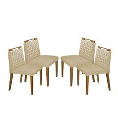 Kit-4-Cadeiras-de-Jantar-Estofada-Bege-em-Veludo-Birlik