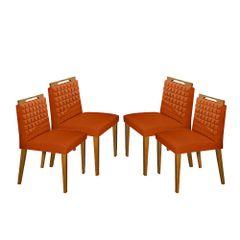 Kit-4-Cadeiras-de-Jantar-Estofada-Ocre-em-Veludo-Birlik