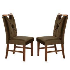 Kit-2-Cadeiras-de-Jantar-Estofada-Marrom-em-Veludo-Delik