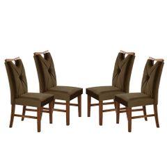 Kit-4-Cadeiras-de-Jantar-Estofada-Marrom-em-Veludo-Delik
