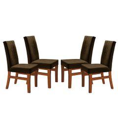 Kit-4-Cadeiras-de-Jantar-Estofada-Marrom-em-Veludo-Duz