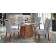 Kit-4-Cadeiras-de-Jantar-Estofada-Cinza-em-Veludo-Elmas---Ambiente
