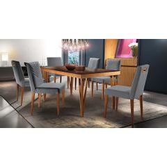 Kit-6-Cadeiras-de-Jantar-Estofada-Cinza-em-Veludo-Kurs---Ambiente