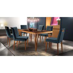 Kit-6-Cadeiras-de-Jantar-Estofada-Azul-em-Veludo-Kurs---Ambiente
