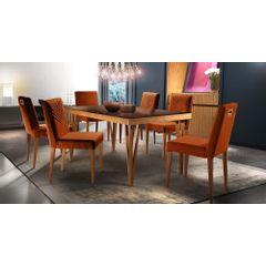Kit-6-Cadeiras-de-Jantar-Estofada-Ocre-em-Veludo-Kurs---Ambiente