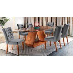 Kit-6-Cadeiras-de-Jantar-Estofada-Cinza-em-Veludo-Sedye---Ambiente