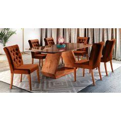 Kit-6-Cadeiras-de-Jantar-Estofada-Ocre-em-Veludo-Sedye---Ambiente