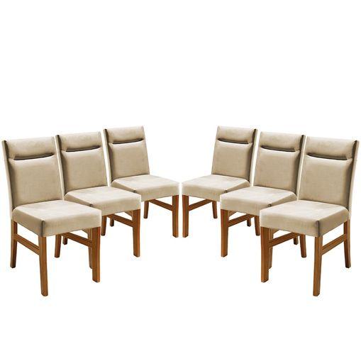 Kit-6-Cadeiras-de-Jantar-Estofada-Bege-em-Veludo-Temel