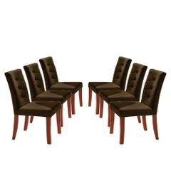 Kit-6-Cadeiras-de-Jantar-Estofada-Marrom-em-Veludo-Sirt